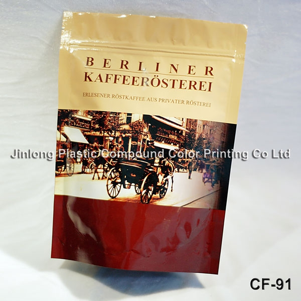 coffee bag in doy-pack with zipper type CF-91