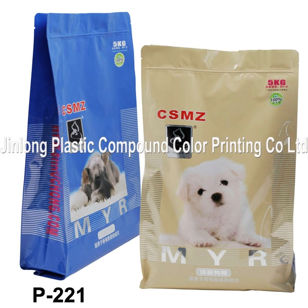 quad-seal with zipper for dog food packaging P-221